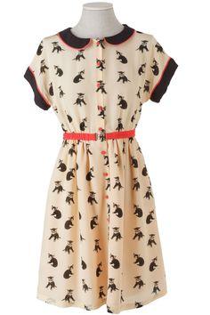 af te drukken zijden jurk met kraag en baby kittens