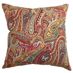 Adorn your home with this gorgeous throw pillow for a romantic and colorful vibe. This accent pillow features intricate paisley prints in Carribean hues. The lovely print combined with pretty colors in green, white, blue, yellow, red and brown makes this a perfect statement piece. The fabric is made from 95% high quality cotton and 5% linen. $55.00 #pillows #decor #thepillowcollection
