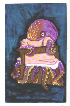 Baby Octopus small US original outsider artist acrylic vintage painting  #Outsider