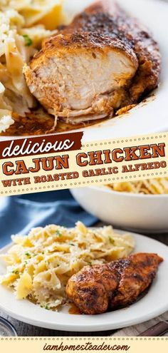 This Cajun Chicken with Roasted Garlic Alfredo is a comfort food recipe that's one of the best and easiest pasta recipes out there. Make your homemade dinner extra special with this recipe. Save this pin! Easy Pasta Recipes, Easy Dinner Recipes, Cajun Chicken Pasta, Roasted Garlic, Pork, Homemade, Easy Dinner Recipies, Kale Stir Fry, Easy Dinner Party Recipes