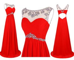 Mix Color A-line Scoop Cap Sleeve Chiffon Long Prom Dress With Rhinestones #prom #evening #party