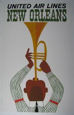 Vintage Travel Destination Art Poster Print  New Orleans - United Air Lines:
