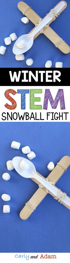 For this winter themed STEM activity students built a catapult to launch snowballs (marshmallows). Students see who can launch their marshmallow the farthest.