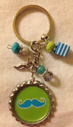 Hipster, MUSTACHE Bottle cap key chain, silver, green, turquoise, bling, striped, fun, gift, mustache charm.