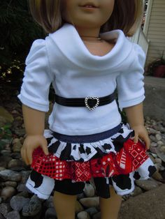 "American girl or 18"" doll Ruffled skirt, cowl neck top and belt outfit"