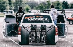 Got Power - Damn sure know how to build a diesel beast, a whole lot of boost right here! Custom Chevy Trucks, Gmc Trucks, Pickup Trucks, Mini Trucks, S10 Truck, Single Cab Trucks, Top Fuel Dragster, Chevy S10, Lowered Trucks