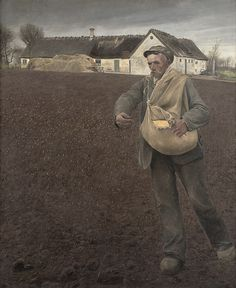 Ring (Danish, - The Sower 1910 Oil on canvas, 1865 x 1555 mm © National Gallery of Denmark Lund, Danish Culture, Social Realism, National Gallery, Sculptures Céramiques, Digital Museum, Scandinavian Art, Ludwig, Working People