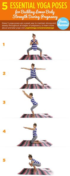 These 5 prenatal yoga poses will keep and build strength in your legs and lower body during all three trimesters of pregnancy! | Learn more about prenatal yoga by going to http://yoginiology.com/prenatalyoga