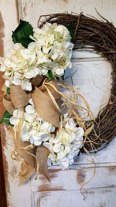 Front door Wreath, Front door wreath, hydrangea, Wedding Wreath, Wreath Great All Year Round, Door Wreath by FarmHouseFloraLs on Etsy https://www.etsy.com/listing/541937413/front-door-wreath-front-door-wreath
