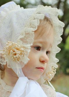 To complete your babys daygown or little girls dress ensemble, add a coordinating French Bonnet. Each bonnet is made to order to complement your