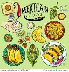 漂亮的手绘的插图墨西哥食物-食品及饮料-海洛创意(HelloRF)-Shutterstock中国独家合作伙伴-正版素材在线交易平台-站酷旗下品牌