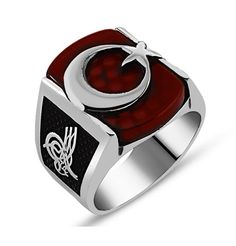 Men's Sterling Silver Islamic Crescent Moon and Star Square Agate Ring