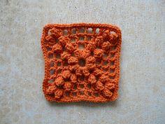 textured crochet granny square, crochetbug, 101 crochet squares, crochet bobbles, jean leinhauser, orange naranja