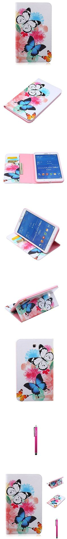 Galaxy Tab 4 8.0 Case, Firefish Premium PU Leather Wallet [Card Slots] [Kickstand Feature] Scratch-Resistant Cover for Samsung Galaxy Tab 4 8.0 SM-T330 - Two Butterflies