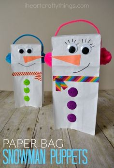 Bring the winter fun indoors for kids with this Paper Bag Snowman Puppet. A darling snowman winter kids craft that they can play with all afternoon.
