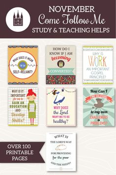 Awesome printable study and teaching helps for all 7 November Come Follow Me lessons! These would make great FHE lessons too!