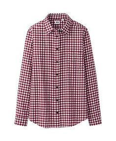 WOMEN FLANNEL CHECK LONG SLEEVE SHIRT (Black and Navy) - Uniqlo