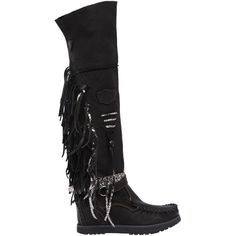 El Vaquero Women 70mm Delilah Fringed Leather Wedge Boots (2.515 RON) ❤ liked on Polyvore featuring shoes, boots, leather fringe boots, wedge boots, leather wedge boots, leather cowgirl boots and lace-up boots