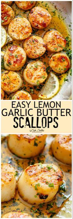 Fish Recipes, Seafood Recipes, Cooking Recipes, Healthy Recipes, Recipies, Seafood Scallops, Fish And Seafood, Baked Scallops, Pan Seared Scallops