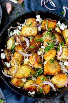 This Greek Potato Hash works as a great side dish for BBQs - or eat it on its own - totally satisfying! Vegetarian and Gluten-Free.