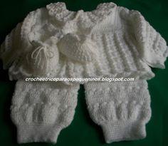 CROCHE E TRICO PARA OS PEQUENINOS: conjunto de crochê para bebe com receita