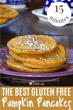 These are the best 15 Minute Gluten Free Pumpkin Pancakes. You may be tempted to think pumpkin would make a dense and heavy pancake but you would be wrong in this case. Even without eggs, these flapjacks are fluffy, especially if you use my gfJules Gluten Free Pancake and Waffle Mix, which is designed to make the absolute best gluten free pancakes every time. Gluten Free Recipes For Breakfast, Gluten Free Breakfasts, Pumpkin Recipes, Fall Recipes, Gluten Free Pumpkin Pancakes, Waffle Mix, Sweet Breakfast, Favorite Recipes, Yummy Food
