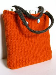 Hey, I found this really awesome Etsy listing at https://www.etsy.com/listing/201982119/hand-knit-tweed-bag-orange