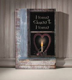 Primitive HOME SWEET HOME Heart Window Lighted Candle Picture Canvas Wall Sign