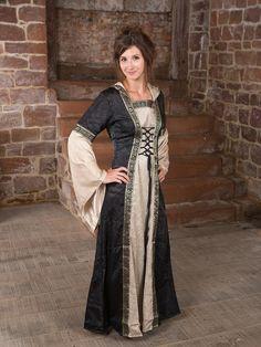 Mittelalterkleid mit Kapuze in schwarz-natur
