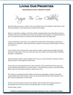 Prayer For Our Children. This free download is avilaable at the bottom of our blog: 10 Bible Verses To Pray Over Your Children