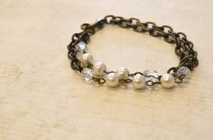 Pearl Bead on Antiqued Brass Bracelet by skyeshouse on Etsy, $8.00