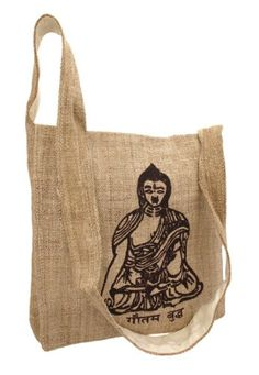 Natural Color Hemp Bag With Buddha  Carry a message of happiness, peace (namaste) and tranquility $24.99