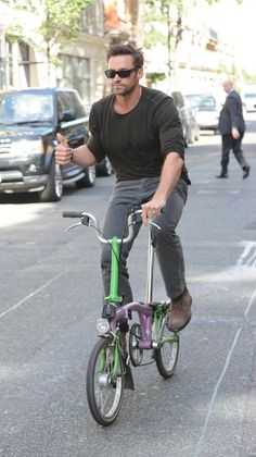 Hugh Jackman Goes For a #Ride   #bicycles