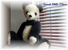 Sweet Little  Handdyed  Panda Teddy Bear  by Jazzieshnazzie