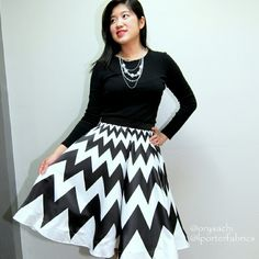 Circle skater skirt chevron stripes black & white Found this new circle skater skirt from Porterica (instagram @lporterfabrics). So gorgeous! Mid length flare circle skater skirt with black and white chevron stripes and bottom is lined with hard tulle to retain its shape. It is quite thick especially with tulle lining inside.  Outer material is silk satin very high quality and soft. 2nd lining is white hard tulle to make the skirt puffy. 3rd lining is white soft lining material.  Measures…