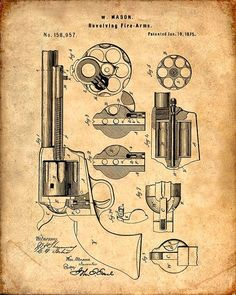 Patent Print of a Mason Revolver from 1875 - Patent Art Print - Patent Poster #patentartprints  #PatentArtPrints