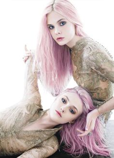 Dakota & Elle fanning rocking some gorgeous pastel pink hair #sisters #daring #ScotchStyle