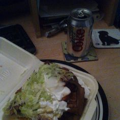 a Can of Diet Coke and a Large Doner Meat with all salad no tomatoes and Mayonnaise/BBQ Sauce @ My Dad's desk in The Living Room