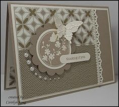 beautiful handmade card King's on Paddington: Butterfly thoughts ... creamy brown to cream ... lovely layout ... luv the graduated pearls around part of the focal point medallion ... Stampin' Up!