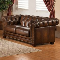 Hickory Chesterfield Leather Loveseat