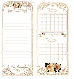 Journaling card and calendar with roses.