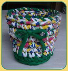 Vasinho em Trapilhos ou Fio de Malha, Crochet Rag Basket