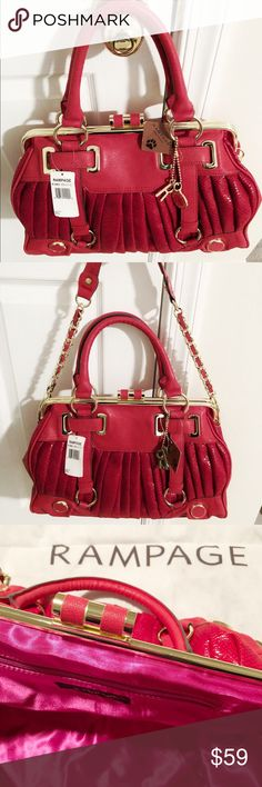 NWT Rampage Hot Red Handbag/Shoulder Bag This gorgeous red hot bag is a must have, features detachable straps for handbag use, has gold hardware all over, interior zipper closure, two interior slip pockets, no scuff marks or discoloration, bag is new. Rampage Bags