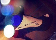 bird tattoo, quote tattoo, foot tattoo