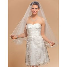 One-tier Fingertip Wedding Veil With Pencil Edge – USD $ 24.99