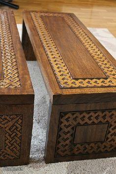 Käsintehty puinen sohvapöytä