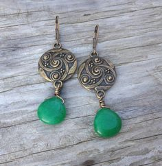 Brass Half Wire Wrapped Green Agate Teardrop by McHughCreations