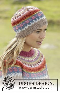 "Stavanger - Set consists of: Knitted DROPS jumper worked top down with round yoke and multi-coloured pattern on yoke in ""Alpaca"". Hat with multi-coloured pattern in ""Alpaca"". Size: S - XXXL. - Free pattern by DROPS Design Fair Isle Knitting Patterns, Jumper Patterns, Knitting Designs, Knit Patterns, Drops Patterns, Bonnet Crochet, Knit Crochet, Crochet Hats, Drops Design"