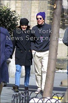 1214-Jackie Kennedy strolls with son  John Kennedy Jr.