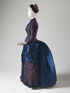 Dress: ca. 1885, English, silk plain weave with warp-float and supplementary weft patterning and silk satin.